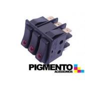 INTERRUPTOR TRIPLO 35X30 TECLA PRETA C/ LED VERM. (9 T)