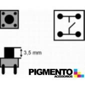 Botão 6x6x(3,5)mm, horizontal, 4 pinos