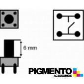 Botão 6x6x(6,0)mm, horizontal, 4 pinos